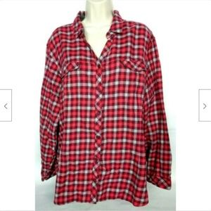 Columbia Womens Button Up Plaid Shirt Size 3X Red